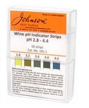 pH Narrow Range Indicator Strips 2.8-4.4 non bleed PACK OF 50